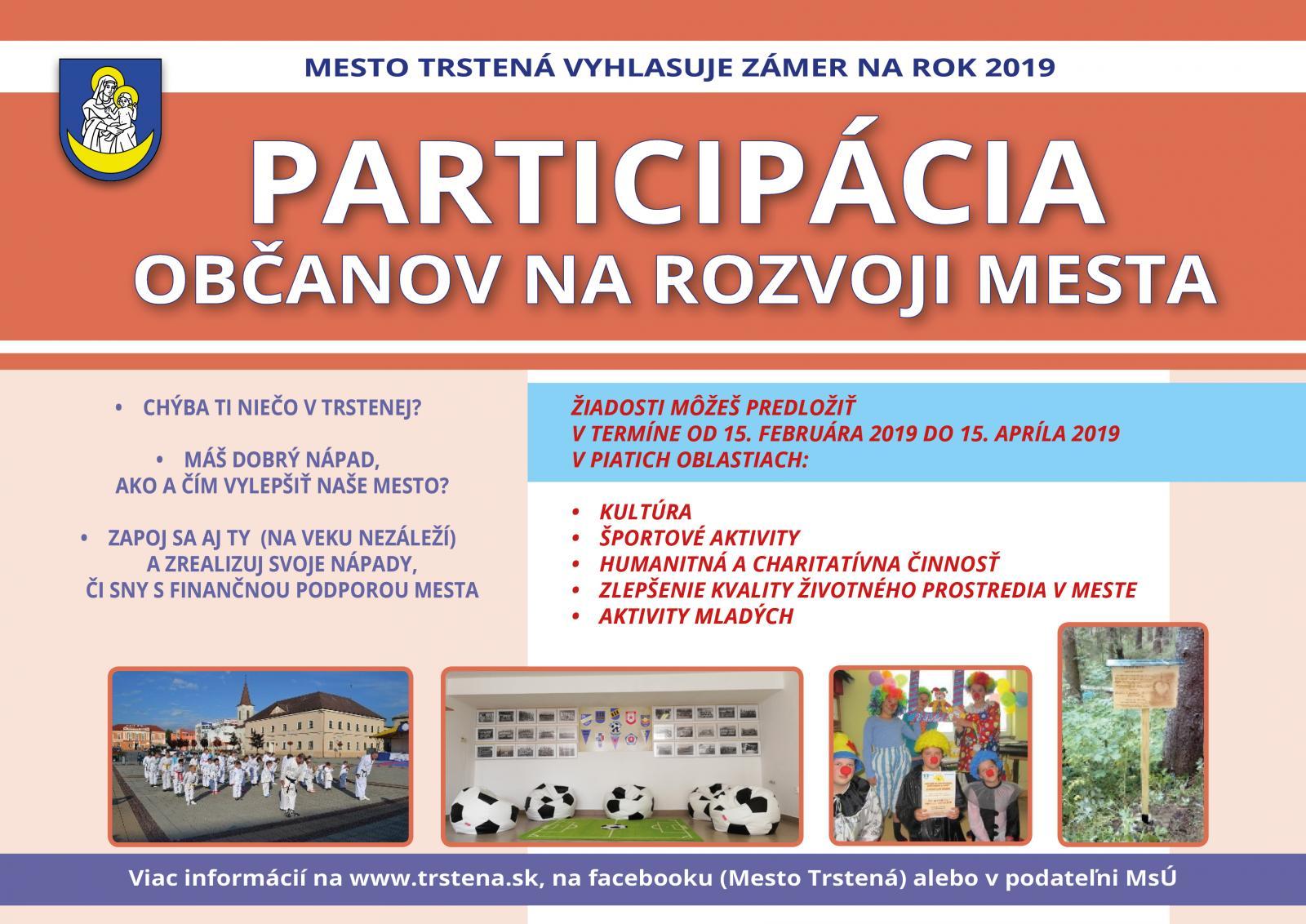 36840418e Mesto Trstená vyhlasuje už tretí ročník zámeru Participácia občanov ...